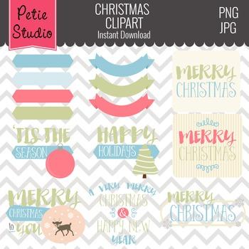 Christmas Greetings Clipart // Christmas Sayings // Holida
