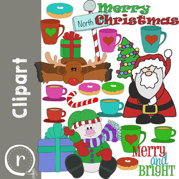 Christmas Holiday Clip Art with Santa Snowman and Reindeer