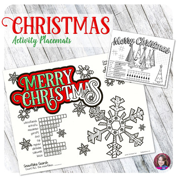 Christmas Coloring Holiday Placemats Activities - FREE