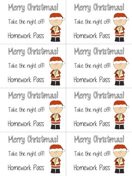 Christmas Holiday Homework Pass