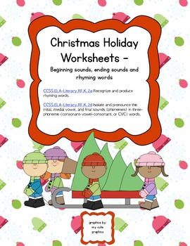 Christmas Holiday Pack: beginning, ending sounds and rhymi