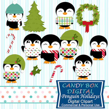 Christmas Holiday Penguins Clip Art - Commercial and Personal Use