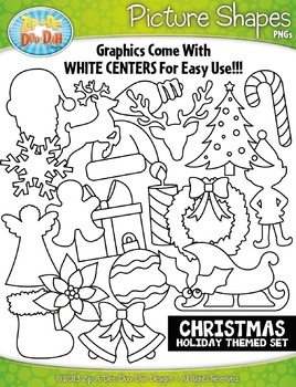 Christmas Holiday Picture Shapes Clipart Set — Includes 20