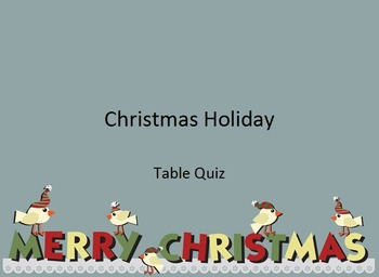 Christmas Holiday Quiz - US Spelling