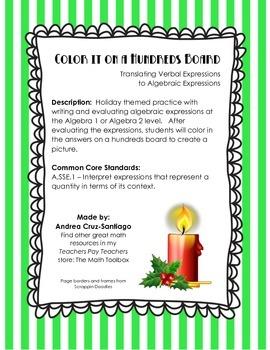 Christmas Holiday Writing and Evaluating Algebraic Expressions