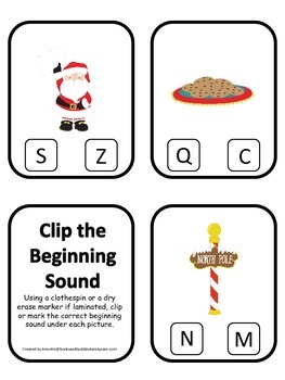 Christmas Holiday themed Beginning Sounds Clip it Cards pr