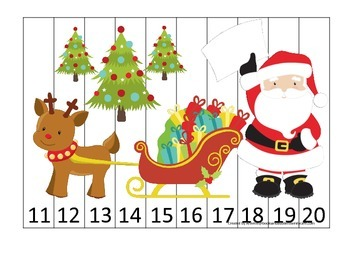 Christmas Holiday themed Number Sequence Puzzle 11-20 pres