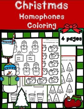 Christmas Homophones Assessment (Elves, Snowmen, Trees, Mi