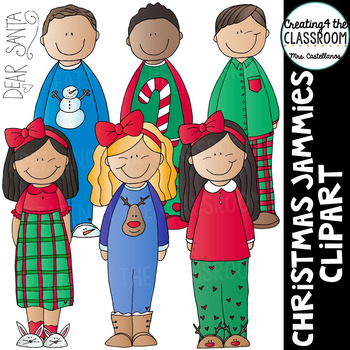 Christmas Jammies Clip Art {Kids Holiday Clip Art}