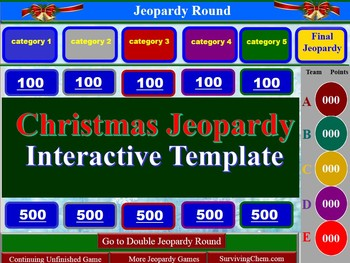 Christmas Jeopardy Interactive Game Template for Holly Jol