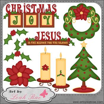 Christmas Joy 1 - Clip Art & B&W Set