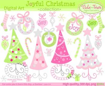 Christmas Joy Pink & Green Christmas Tree Train Wreath Orn