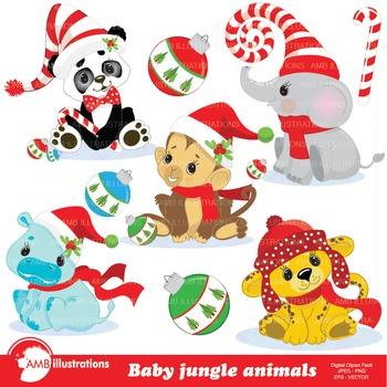 Christmas Jungle Animals clip art, AMB-999