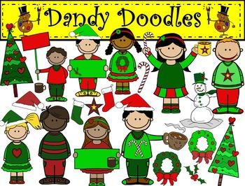 Christmas Kids Clip Art by Dandy Doodles