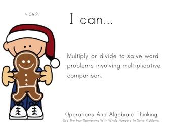 Christmas Kids Theme 4th grade math Common Core Posters fo