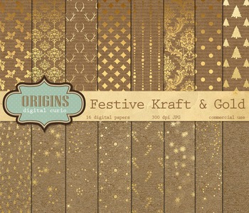 Christmas Kraft Digital Scrapbook Paper Textures