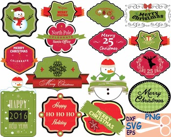 Christmas Labels Happy new year 2016 clip art Cutting badg