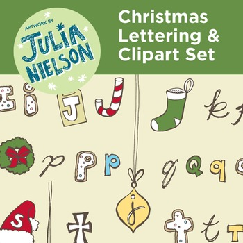 Christmas Letters and Numbers clipart set