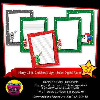 Christmas Light Bulb Digital Paper - Rudolph and Santa Lin