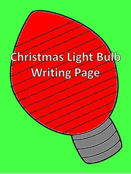 Christmas Light Bulb Writing Page
