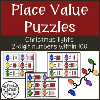Christmas Lights Place Value Matching Puzzles for Math Centers