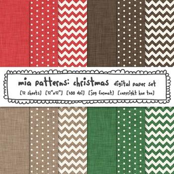 Christmas Linen Texture Digital Paper, Red, Green, Brown,