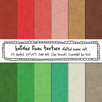 Christmas Linen Texture Digital Paper, Red, Green and Brow