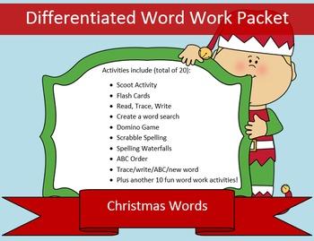 Christmas List Word Work Packet – 10 words, no prep spelli