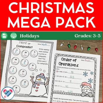 Christmas Reading Writing and Math Activities Grades 3-5