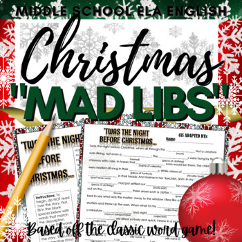 "Christmas ""Mad Libs"" Style Word Activity"