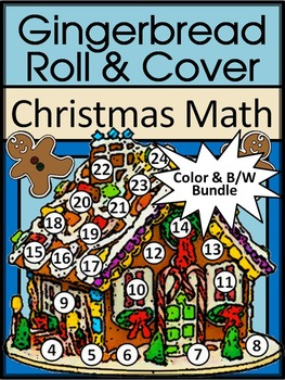 Christmas Math Activities: Gingerbread House Roll & Cover