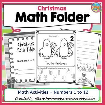 Christmas Math- Kindergarten Activities {Numbers 1 to 12}