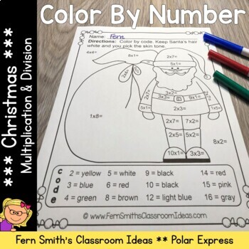 Color By Numbers Christmas Polar Express Multiplication an