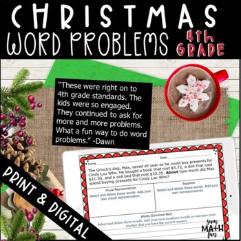 Christmas Math Word Problems Fourth Grade Multi-Step