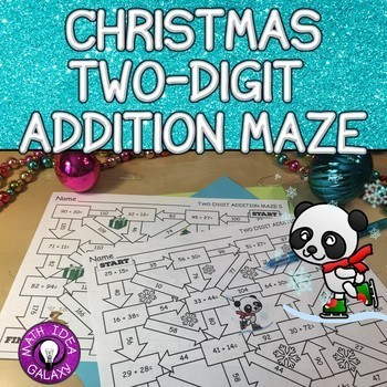 Christmas Two Digit Addition Maze