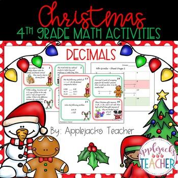 Christmas Math Activities - 4th Grade - Decimals