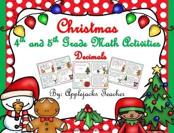 Christmas Math Activities - 4th and 5th Grade - Decimals
