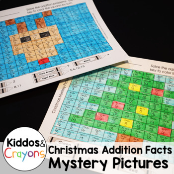 Christmas Math Mystery Pictures - Addition Fact Practice