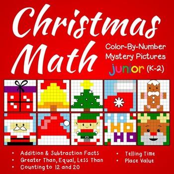 Christmas Math Color-By-Number Bundle (K-2)