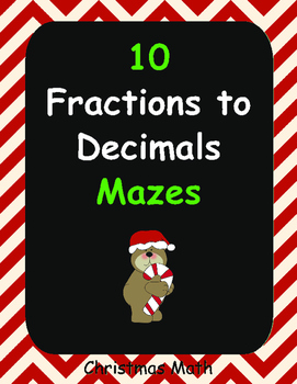 Christmas Math: Fractions to Decimals Maze