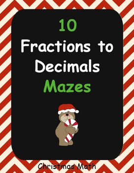 Christmas Math: Fractions to Percents Maze