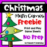 Christmas Free: Christmas Math Games No Prep