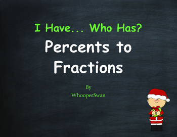 Christmas Math: I Have, Who Has - Percents to Fractions