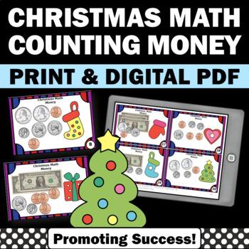 Christmas Math Money Dollars Cents Task Cards for Center G