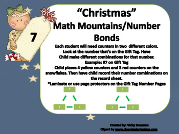 Christmas Math Mountain/Number Bond Games