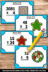 Winter or Christmas Math Multiplication Task Cards 4th 5th