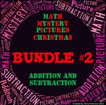 Christmas Math Mystery Picture BUNDLE #2~ Addition and Sub