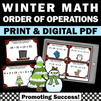 Christmas Math Order of Operations Task Cards Games 5th 6t