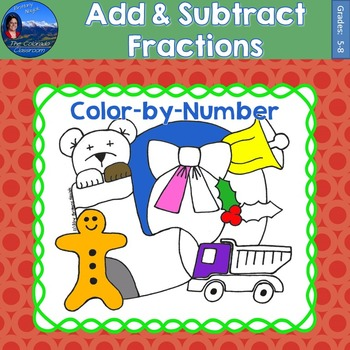 Add & Subtract Fractions Math Practice Christmas Color by Number