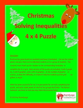 Christmas Math Puzzle - Solving Inequalities